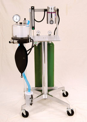 "Anesthetic Gas Machines - Stand Model 51112 is designed to give the veterinarian that added security of having 2 oxygen ""E"" cylinder yokes to hold two oxygen tanks. (see features)"